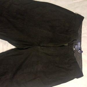 Black soft suede pants
